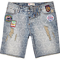 Light wash badged denim shorts