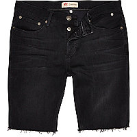 Dark grey frayed hem denim shorts