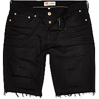 Black ripped frayed hem denim shorts