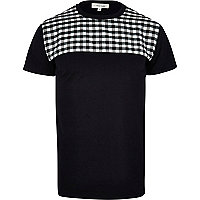 Black and white check yoke t-shirt
