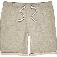 Grey marl turn up jersey shorts