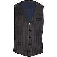 Grey pinstripe single breasted waistcoat