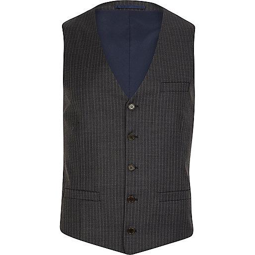 Grey pinstripe single breasted waistcoat