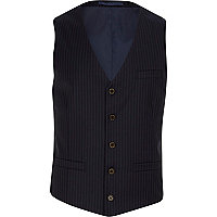 Navy pinstripe single breasted waistcoat