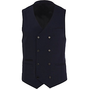 Navy double breasted wool-blend waistcoat