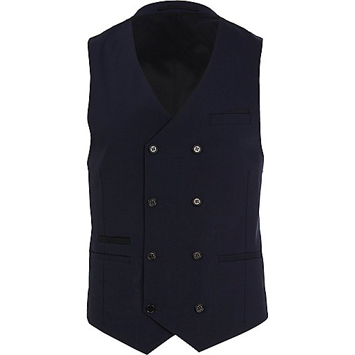 Navy double breasted wool-blend vest