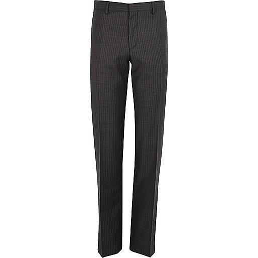 Grey pinstripe slim suit trousers