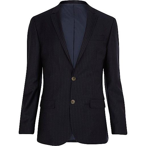 Navy pinstripe slim suit jacket