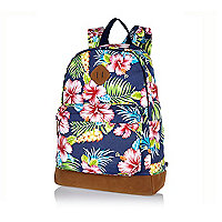 Blue Hawaiian print backpack