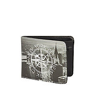 Black New York compass printed wallet