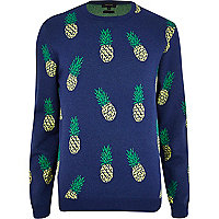 Navy pineapple print jumper