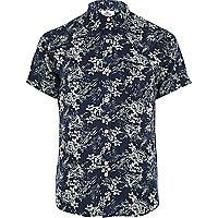 Navy Bellfield floral print shirt