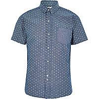 Blue Bellfield polka dot shirt