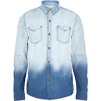 Blue Bellfield ombre denim shirt