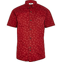 Red Bellfield swallow print shirt