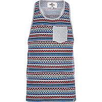Blue Bellfield aztec stripe vest