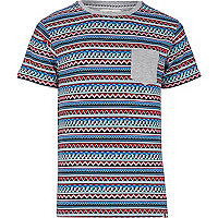 Blue Bellfield aztec stripe t-shirt
