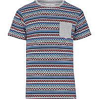 Blue Bellfield aztec stripe t-shirt