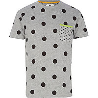 Grey Bellfield mixed polka dot t-shirt