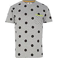 Grey Bellfield mixed polka dot t-shirt