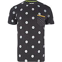 Dark grey Bellfield mixed polka dot t-shirt