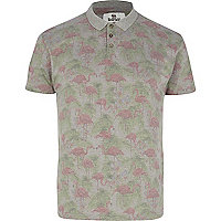 Grey Bellfield flamingo print polo shirt