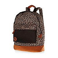 Brown Mipac leopard print backpack
