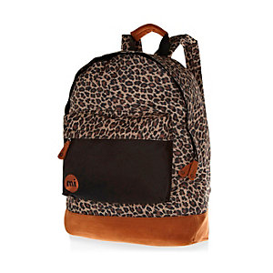 Brown Mipac leopard print backpack