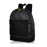 Black MiPac mesh pocket satin backpack