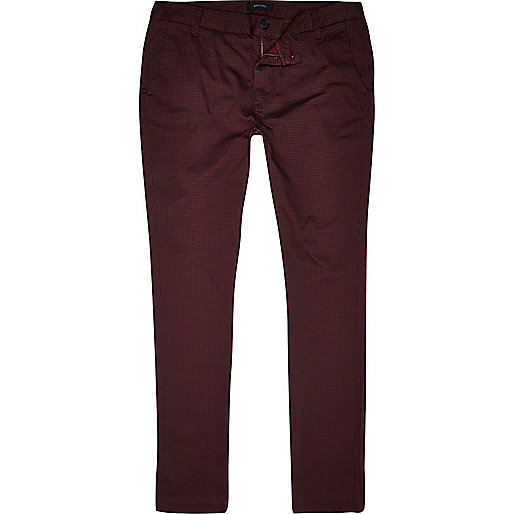 Dark red dogtooth skinny stretch chinos