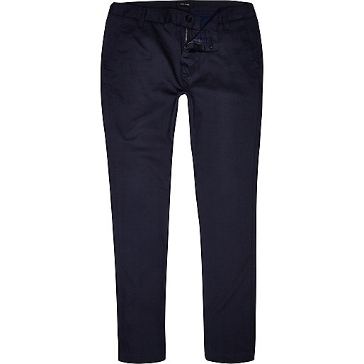 Navy check skinny stretch chinos