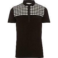 Black check yoke short sleeve polo shirt