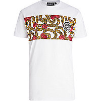 White Panuu rose and chain print t-shirt