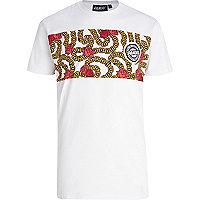 White Panuu rose and chain print t-shirt