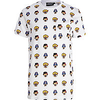 White Panuu repeat cartoon print t-shirt