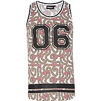 White Panuu rose and chain print varsity vest