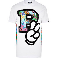 White Panuu cartoon letter print t-shirt