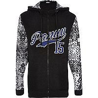 Black Panuu snake print sleeve hoodie