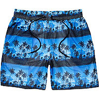 Blue Panuu palm tree print mesh shorts