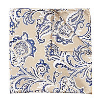 Beige paisley pocket square