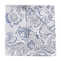 Light grey paisley pocket square