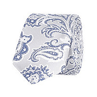 Light grey paisley tie