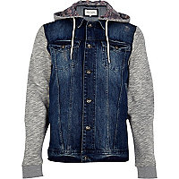 Mid wash jersey sleeve hooded denim jacket