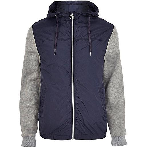 Navy contrast sleeve bomber jacket