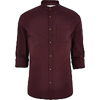 Dark red grandad collar Oxford shirt