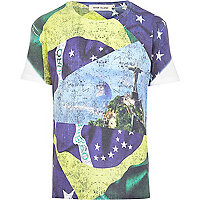 Green Brazil sublimation flag print t-shirt
