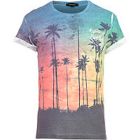 Blue palm tree print t-shirt