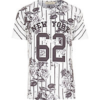 White New York 62 stripe print t-shirt
