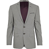 Black and white dogtooth skinny suit jacket