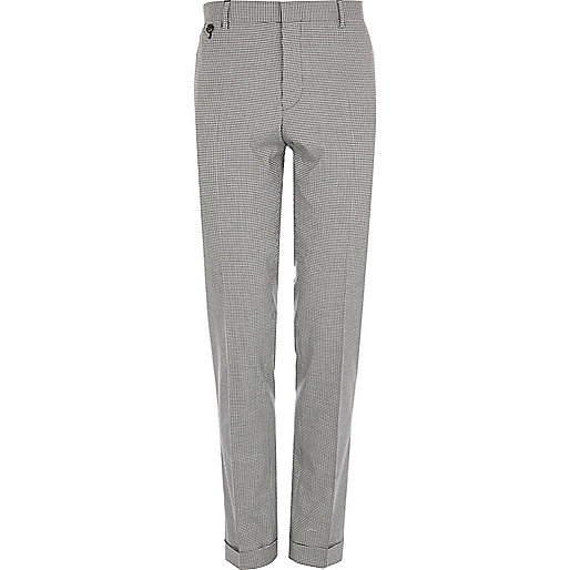Black and white dogtooth skinny trousers